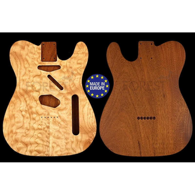 TL 50s style electric guitar body book matched Quilted Maple top / Honduras Mahogany, unique
