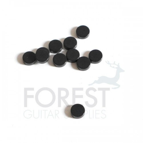 Black plastic guitar fretboard inlay dot 6mm