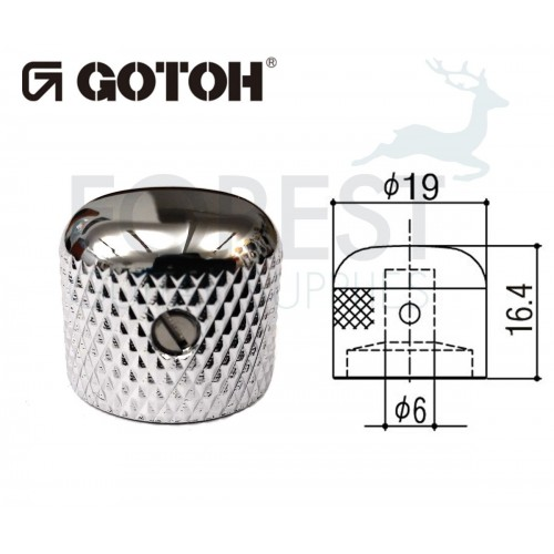 Gotoh VK3 dome metal Knob chrome 19mm
