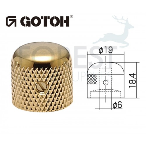 Gotoh VK1-19 dome metal Knob gold 19mm
