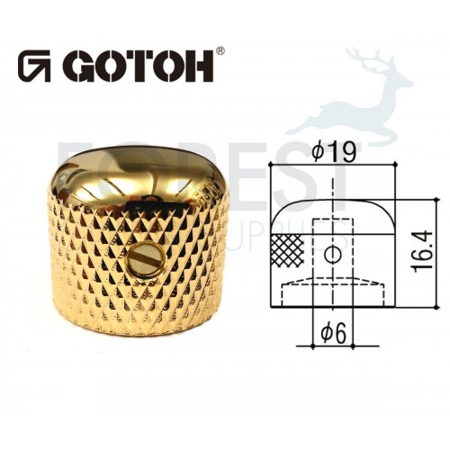 Gotoh VK3 dome metal Knob gold 19mm