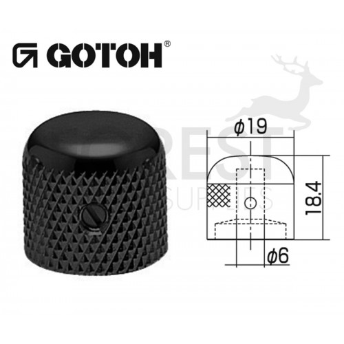Gotoh VK1-19 dome metal Knob black 19mm